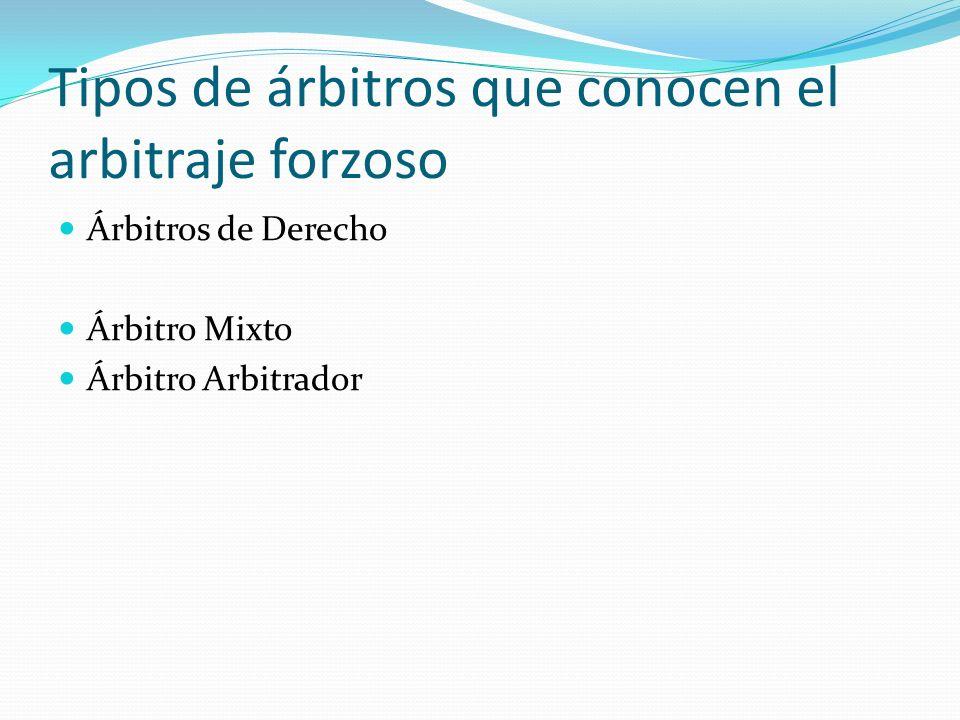 Tipos de árbitros que conocen el arbitraje forzoso Árbitros de Derecho Árbitro Mixto Árbitro Arbitrador