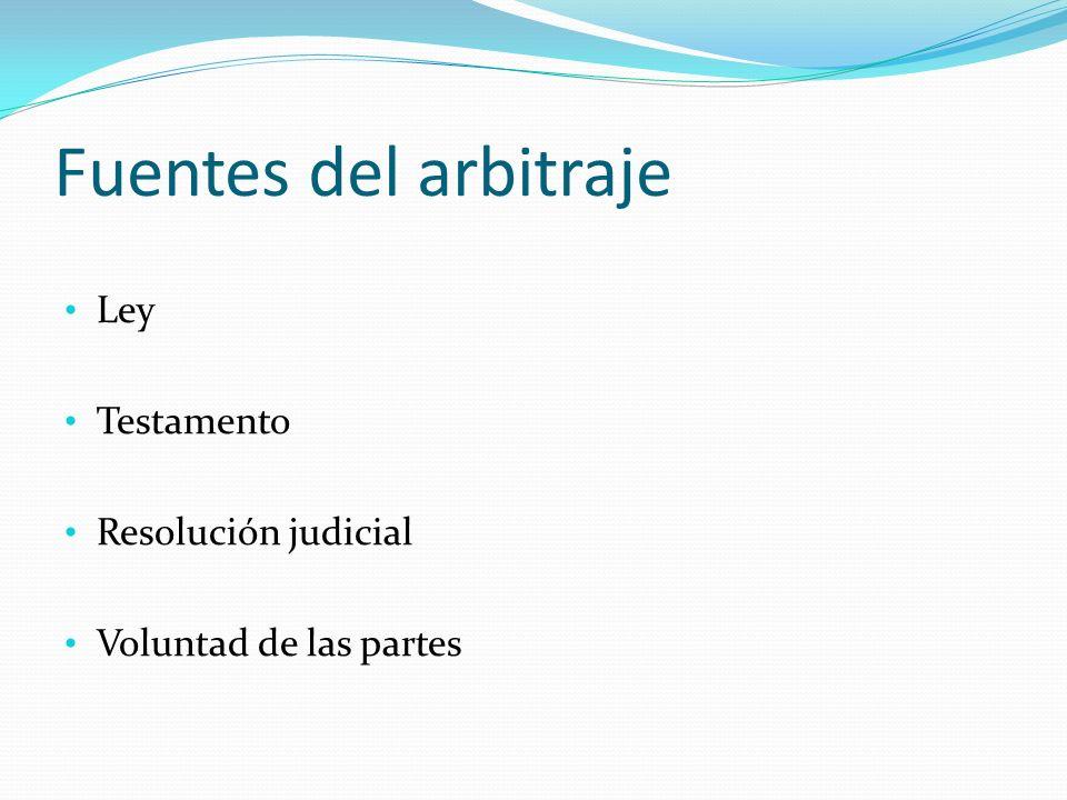 Fuentes del arbitraje Ley Testamento Resolución judicial Voluntad de las partes