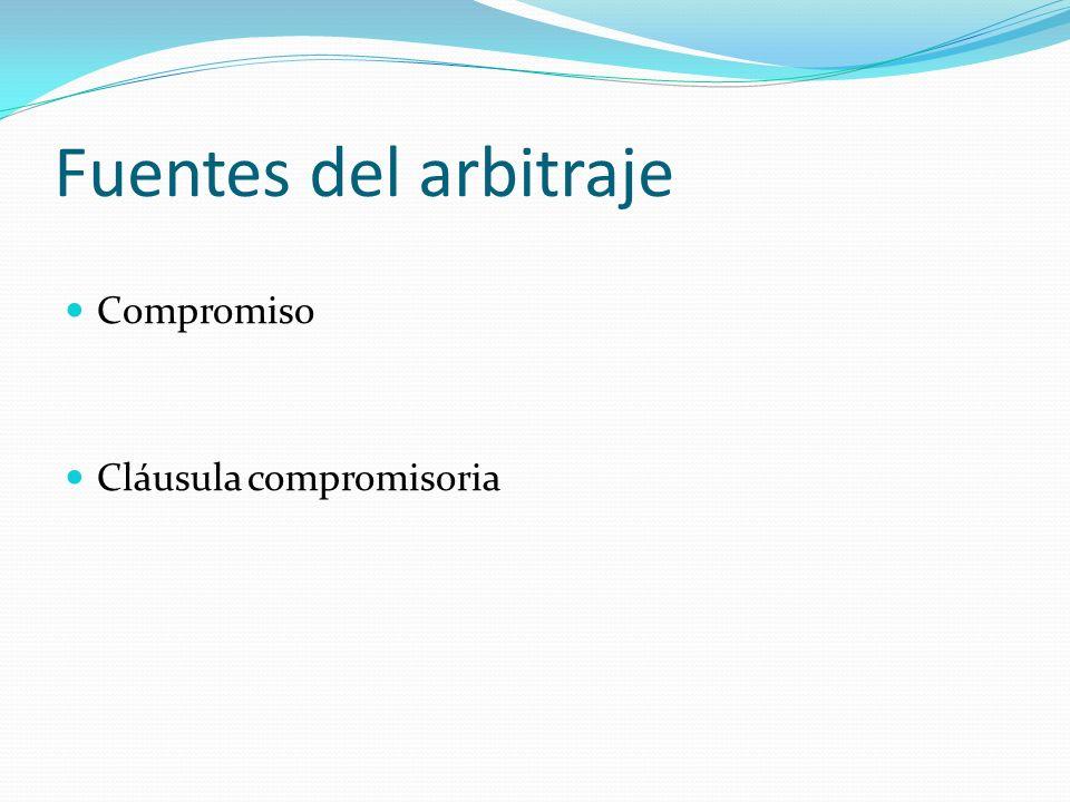 Fuentes del arbitraje Compromiso Cláusula compromisoria