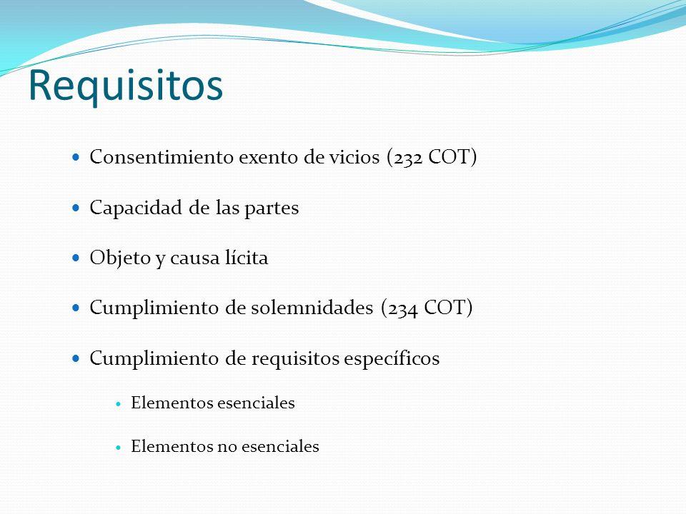 Requisitos Consentimiento exento de vicios (232 COT) Capacidad de las partes Objeto y causa lícita Cumplimiento de solemnidades (234 COT) Cumplimiento