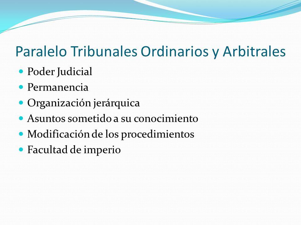 Paralelo Tribunales Ordinarios y Arbitrales Poder Judicial Permanencia Organización jerárquica Asuntos sometido a su conocimiento Modificación de los