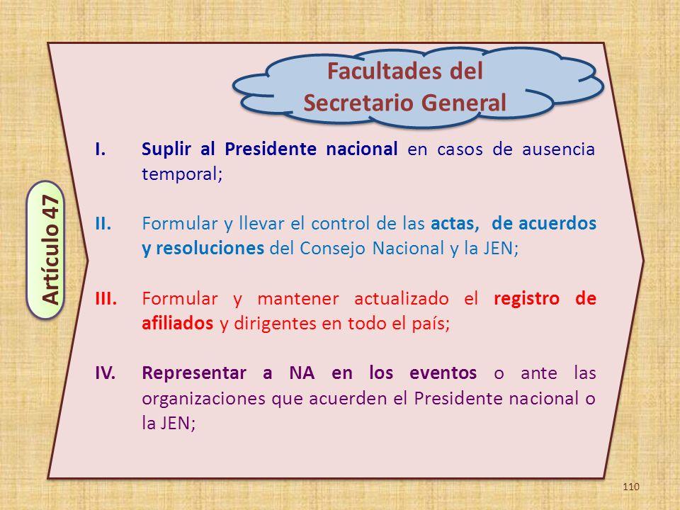 110 I.Suplir al Presidente nacional en casos de ausencia temporal; II.Formular y llevar el control de las actas, de acuerdos y resoluciones del Consej