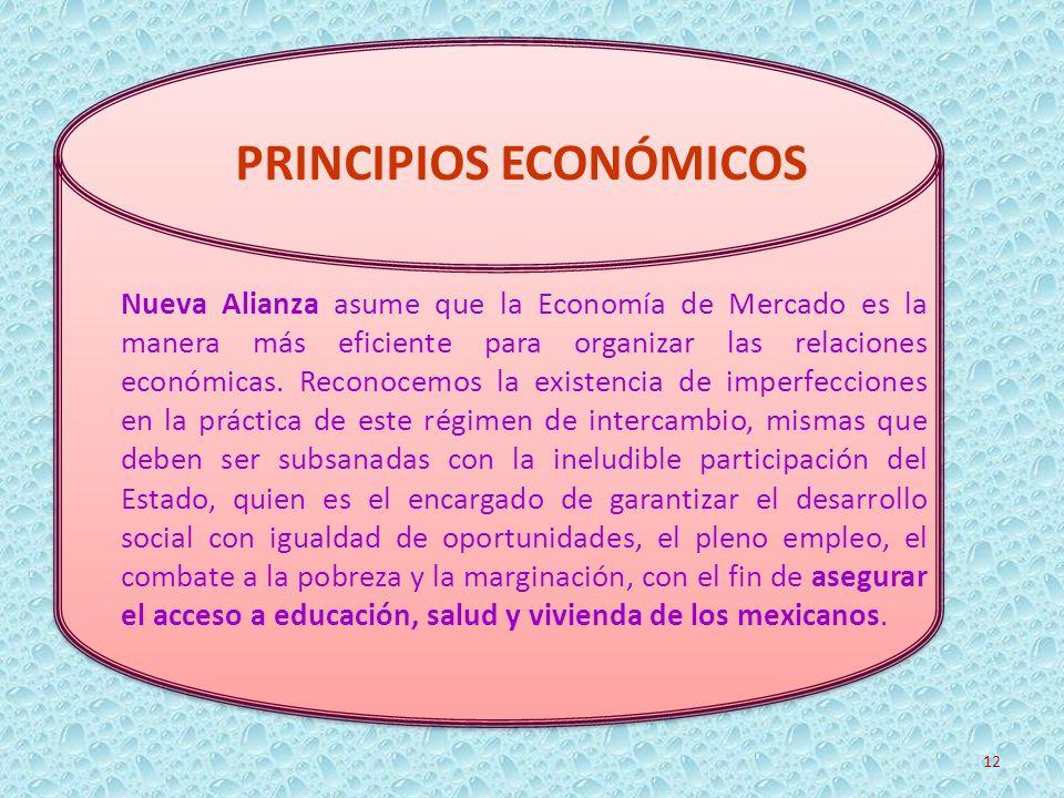 Nueva Alianza asume que la Economía de Mercado es la manera más eficiente para organizar las relaciones económicas. Reconocemos la existencia de imper