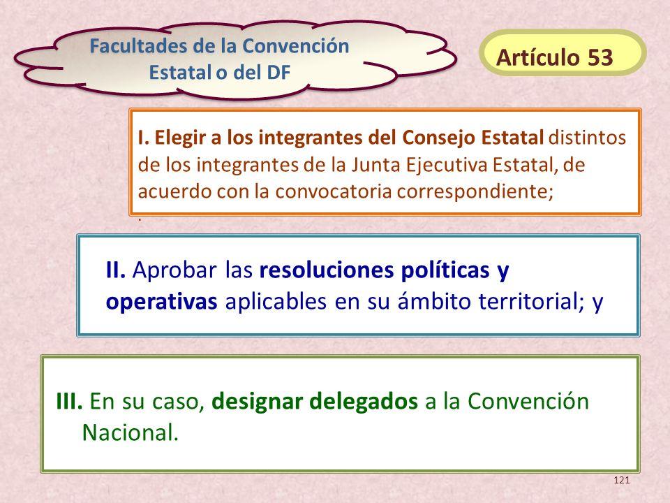 III. En su caso, designar delegados a la Convención Nacional. II. Aprobar las resoluciones políticas y operativas aplicables en su ámbito territorial;