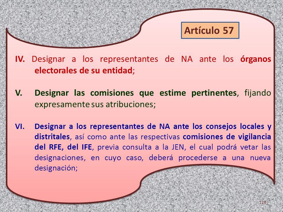 IV. Designar a los representantes de NA ante los órganos electorales de su entidad; V.Designar las comisiones que estime pertinentes, fijando expresam