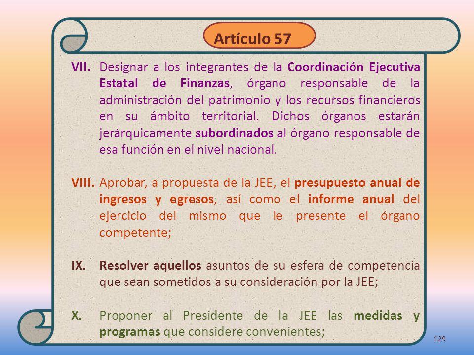 VII.Designar a los integrantes de la Coordinación Ejecutiva Estatal de Finanzas, órgano responsable de la administración del patrimonio y los recursos