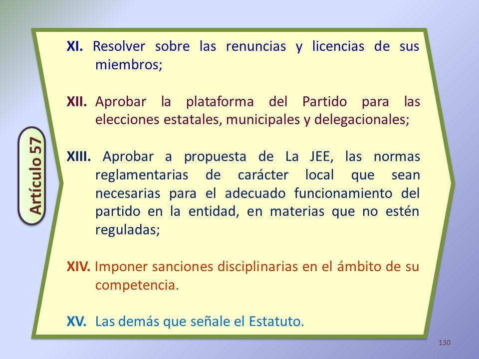 130 XI. Resolver sobre las renuncias y licencias de sus miembros; XII.Aprobar la plataforma del Partido para las elecciones estatales, municipales y d