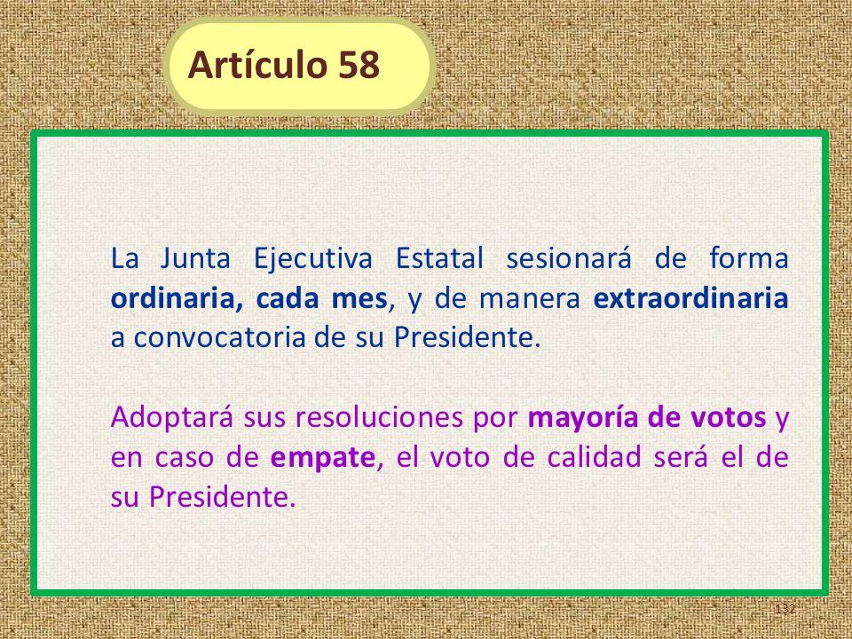 La Junta Ejecutiva Estatal sesionará de forma ordinaria, cada mes, y de manera extraordinaria a convocatoria de su Presidente. Adoptará sus resolucion