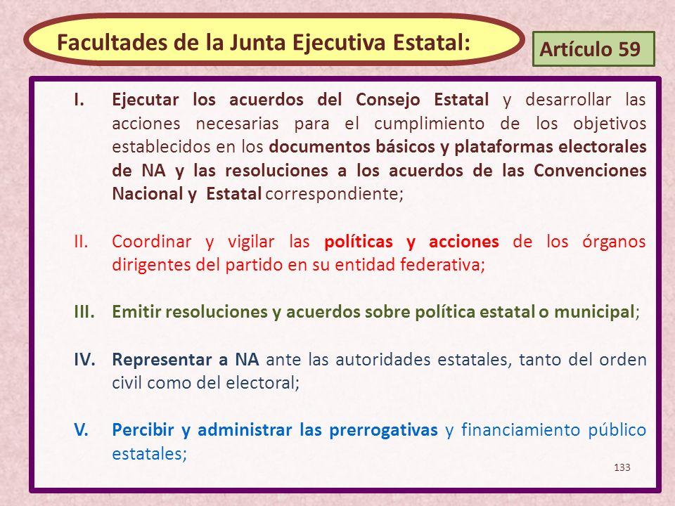 I.Ejecutar los acuerdos del Consejo Estatal y desarrollar las acciones necesarias para el cumplimiento de los objetivos establecidos en los documentos