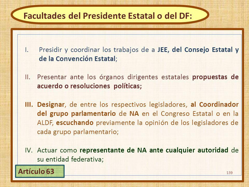 I.Presidir y coordinar los trabajos de a JEE, del Consejo Estatal y de la Convención Estatal; II.Presentar ante los órganos dirigentes estatales propu