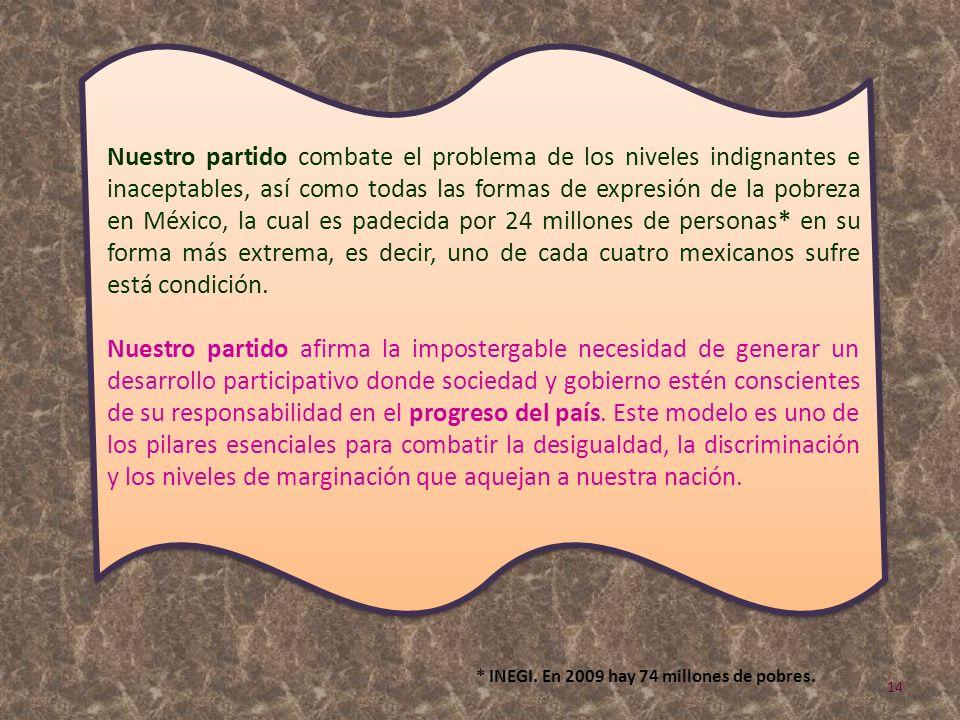 Nuestro partido combate el problema de los niveles indignantes e inaceptables, así como todas las formas de expresión de la pobreza en México, la cual