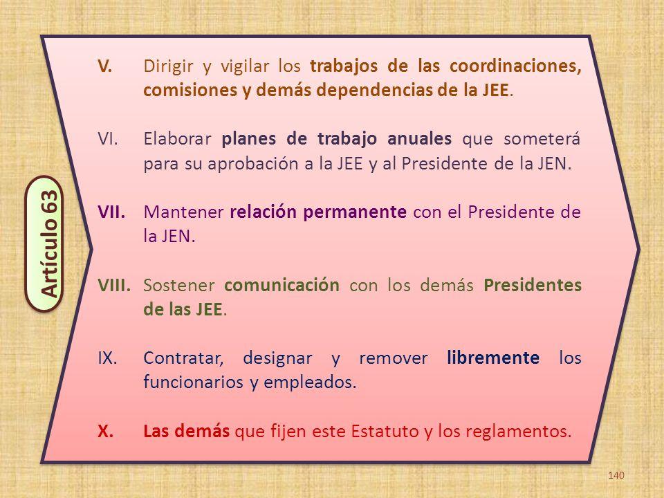 140 V. Dirigir y vigilar los trabajos de las coordinaciones, comisiones y demás dependencias de la JEE. VI.Elaborar planes de trabajo anuales que some