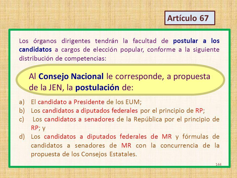 Los órganos dirigentes tendrán la facultad de postular a los candidatos a cargos de elección popular, conforme a la siguiente distribución de competen