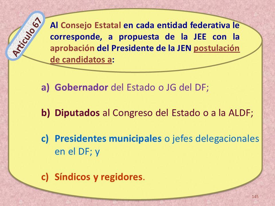 a)Gobernador del Estado o JG del DF; b)Diputados al Congreso del Estado o a la ALDF; c)Presidentes municipales o jefes delegacionales en el DF; y c)Sí