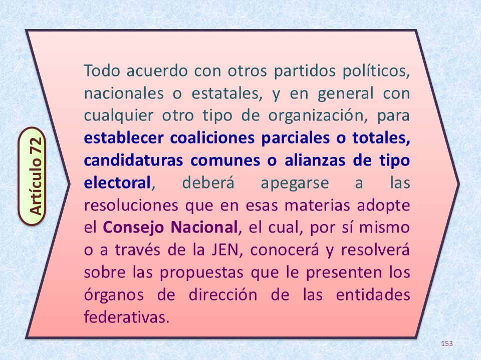 153 Todo acuerdo con otros partidos políticos, nacionales o estatales, y en general con cualquier otro tipo de organización, para establecer coalicion