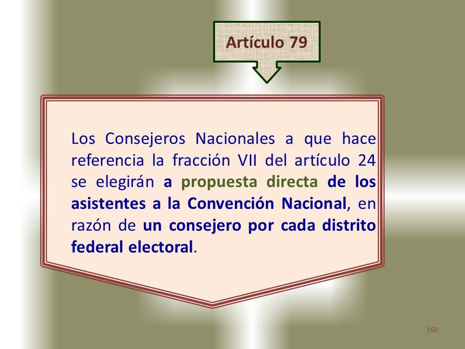 160 Los Consejeros Nacionales a que hace referencia la fracción VII del artículo 24 se elegirán a propuesta directa de los asistentes a la Convención