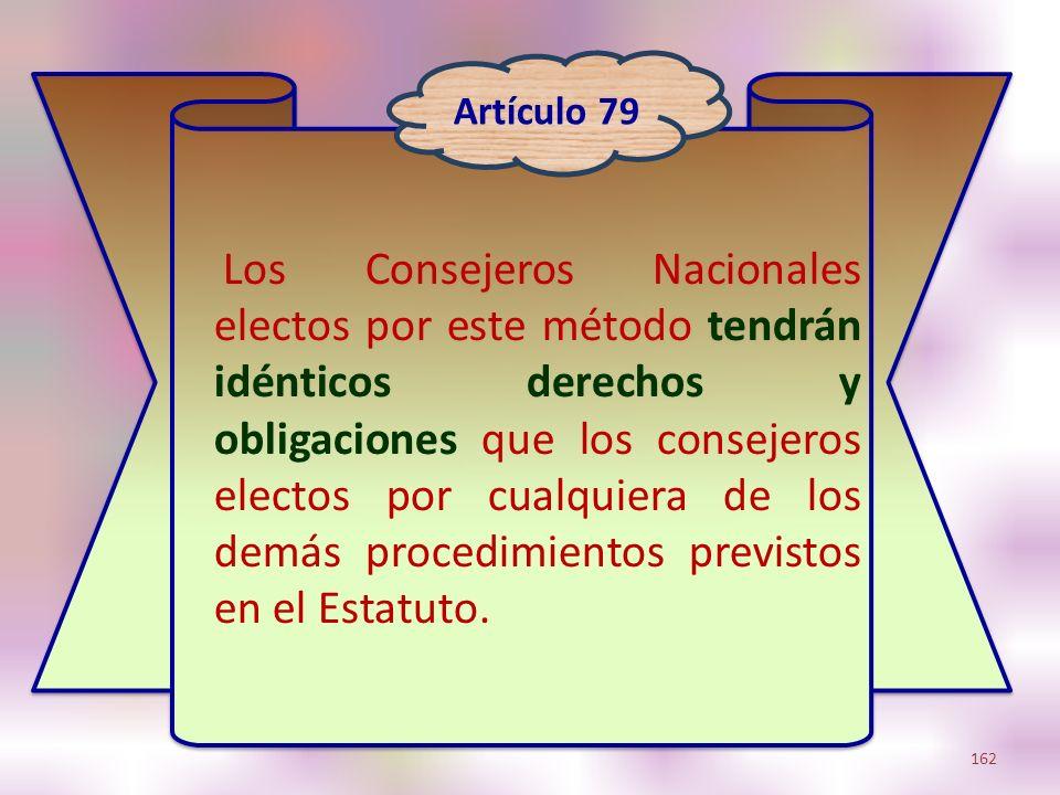 Los Consejeros Nacionales electos por este método tendrán idénticos derechos y obligaciones que los consejeros electos por cualquiera de los demás pro