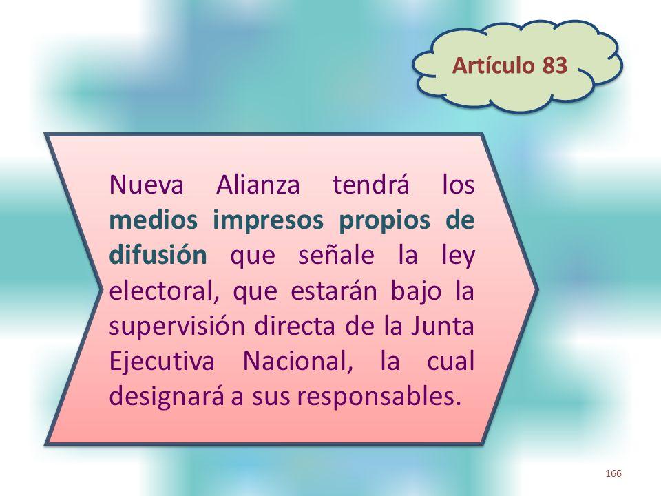 166 Nueva Alianza tendrá los medios impresos propios de difusión que señale la ley electoral, que estarán bajo la supervisión directa de la Junta Ejec