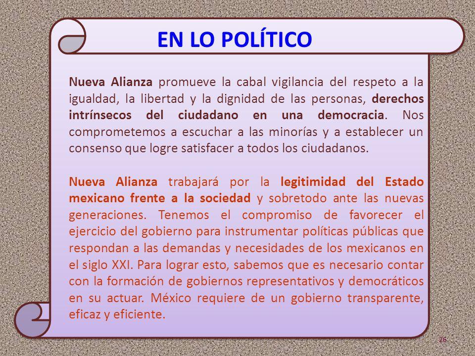 26 Nueva Alianza promueve la cabal vigilancia del respeto a la igualdad, la libertad y la dignidad de las personas, derechos intrínsecos del ciudadano