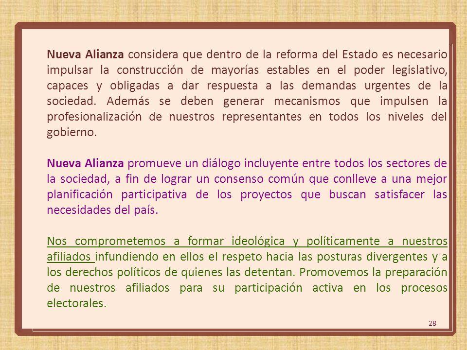 28 Nueva Alianza considera que dentro de la reforma del Estado es necesario impulsar la construcción de mayorías estables en el poder legislativo, cap