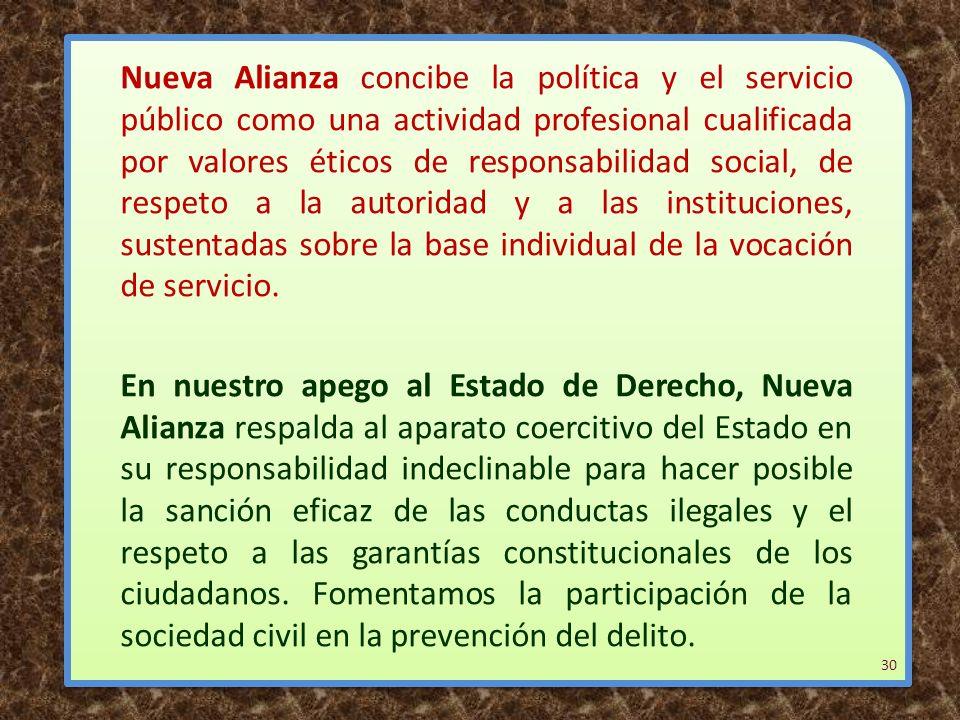 Nueva Alianza concibe la política y el servicio público como una actividad profesional cualificada por valores éticos de responsabilidad social, de re