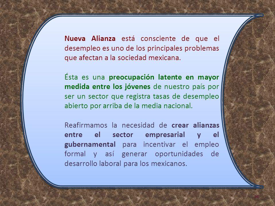 Nueva Alianza está consciente de que el desempleo es uno de los principales problemas que afectan a la sociedad mexicana. Ésta es una preocupación lat
