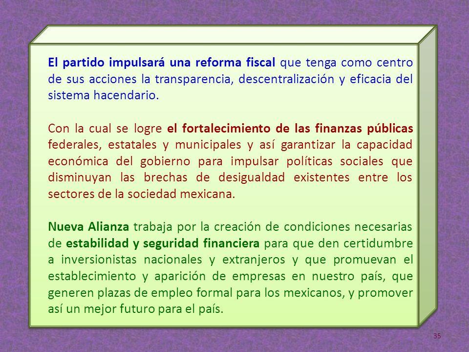 El partido impulsará una reforma fiscal que tenga como centro de sus acciones la transparencia, descentralización y eficacia del sistema hacendario. C