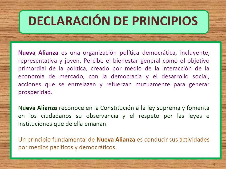 DECLARACIÓN DE PRINCIPIOS 4 Nueva Alianza es una organización política democrática, incluyente, representativa y joven. Percibe el bienestar general c