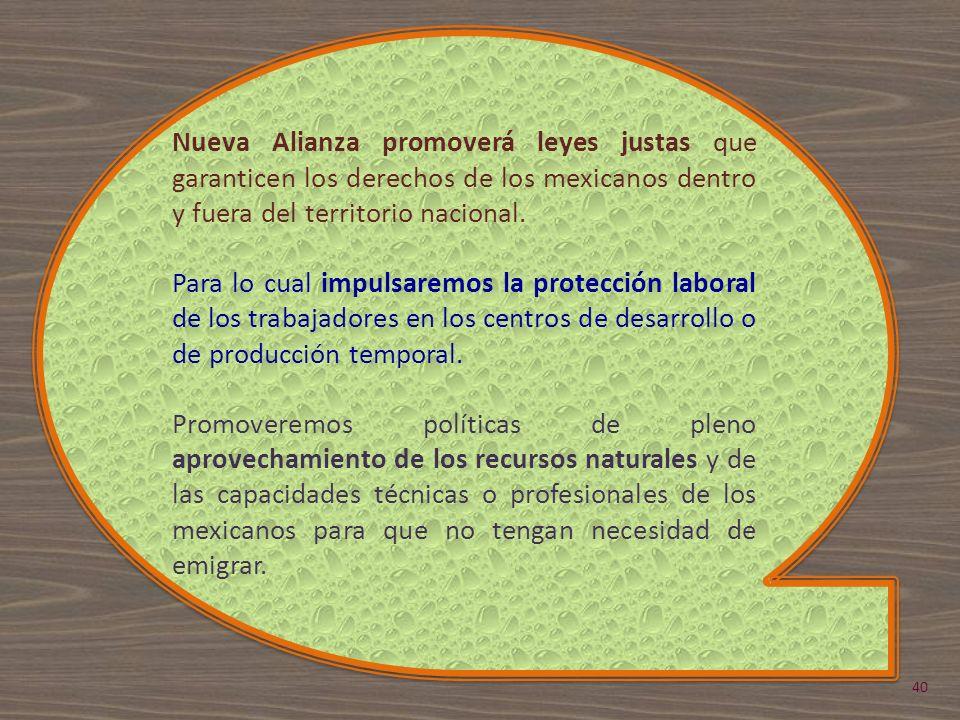 Nueva Alianza promoverá leyes justas que garanticen los derechos de los mexicanos dentro y fuera del territorio nacional. Para lo cual impulsaremos la