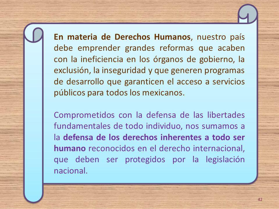 En materia de Derechos Humanos, nuestro país debe emprender grandes reformas que acaben con la ineficiencia en los órganos de gobierno, la exclusión,