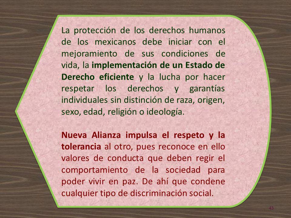 La protección de los derechos humanos de los mexicanos debe iniciar con el mejoramiento de sus condiciones de vida, la implementación de un Estado de