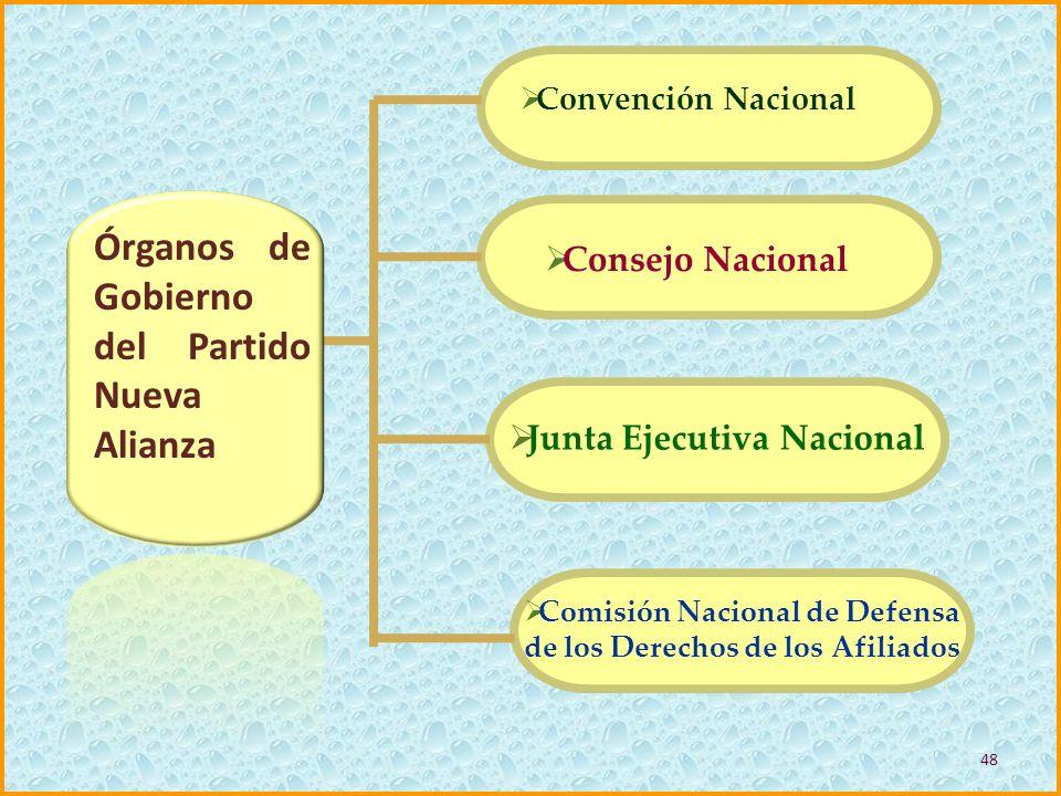 Órganos de Gobierno del Partido Nueva Alianza Convención Nacional Consejo Nacional Junta Ejecutiva Nacional Comisión Nacional de Defensa de los Derech