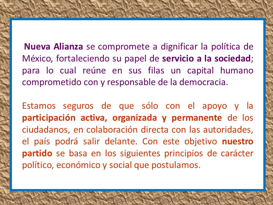 Nueva Alianza promueve la igualdad, la libertad y la dignidad de los ciudadanos, por lo que entiende al gobierno democrático como una representación delegada del pueblo soberano y reconoce en éste tanto a las minorías como a las mayorías.