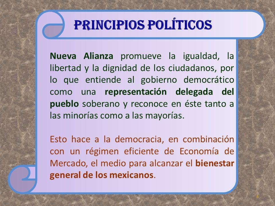 Nueva Alianza promueve la igualdad, la libertad y la dignidad de los ciudadanos, por lo que entiende al gobierno democrático como una representación d