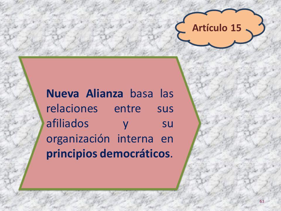 63 Nueva Alianza basa las relaciones entre sus afiliados y su organización interna en principios democráticos. Artículo 15