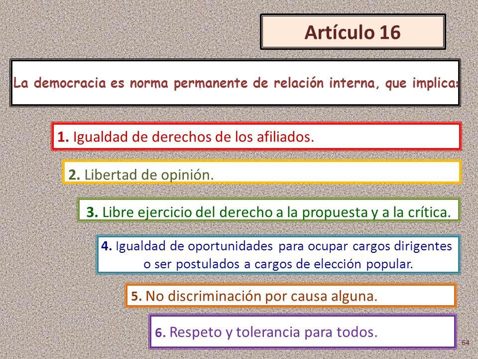 Artículo 16 La democracia es norma permanente de relación interna, que implica : 2. Libertad de opinión. 1. Igualdad de derechos de los afiliados. 3.