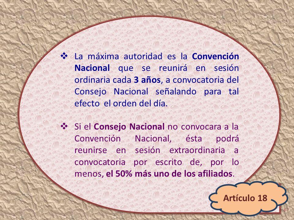 La máxima autoridad es la Convención Nacional que se reunirá en sesión ordinaria cada 3 años, a convocatoria del Consejo Nacional señalando para tal e