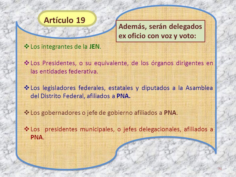 Los integrantes de la JEN. Los Presidentes, o su equivalente, de los órganos dirigentes en las entidades federativa. Los legisladores federales, estat