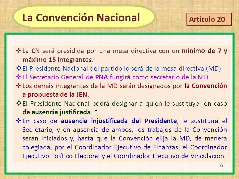 La CN será presidida por una mesa directiva con un mínimo de 7 y máximo 15 integrantes. El Presidente Nacional del partido lo será de la mesa directiv