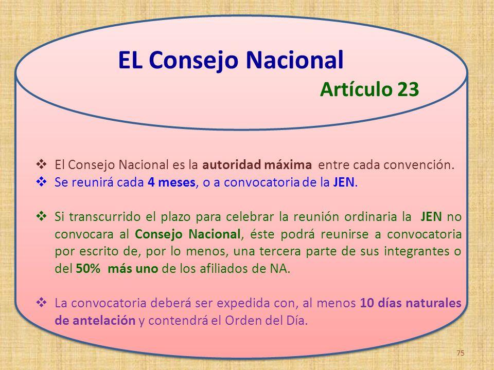 El Consejo Nacional es la autoridad máxima entre cada convención. Se reunirá cada 4 meses, o a convocatoria de la JEN. Si transcurrido el plazo para c