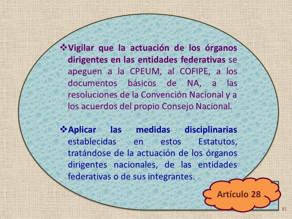 Vigilar que la actuación de los órganos dirigentes en las entidades federativas se apeguen a la CPEUM, al COFIPE, a los documentos básicos de NA, a la