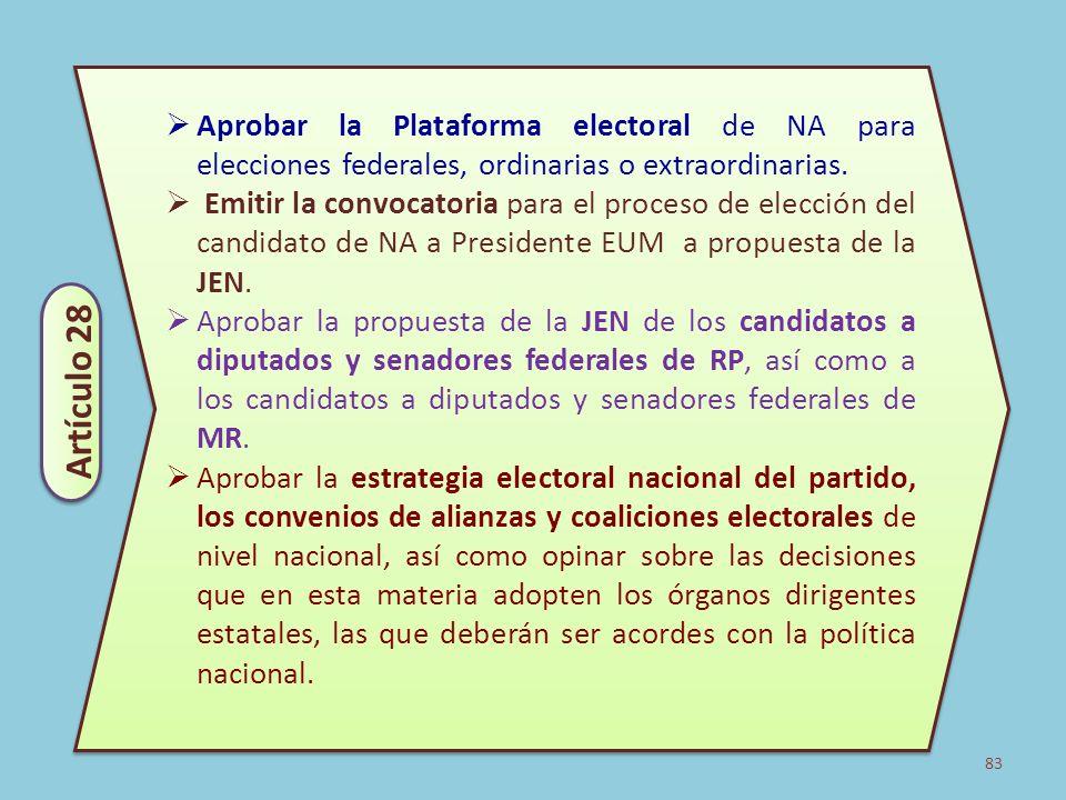 83 Aprobar la Plataforma electoral de NA para elecciones federales, ordinarias o extraordinarias. Emitir la convocatoria para el proceso de elección d