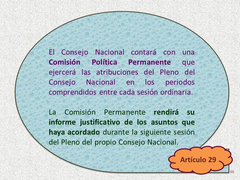 El Consejo Nacional contará con una Comisión Política Permanente que ejercerá las atribuciones del Pleno del Consejo Nacional en los periodos comprend