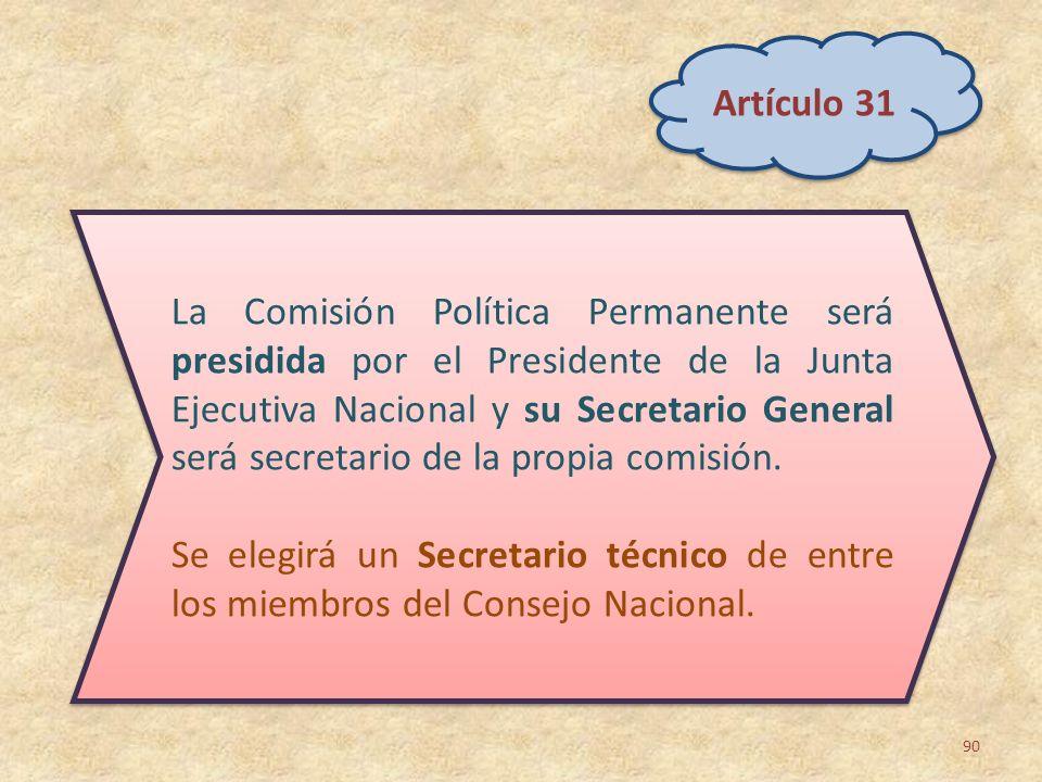 90 La Comisión Política Permanente será presidida por el Presidente de la Junta Ejecutiva Nacional y su Secretario General será secretario de la propi