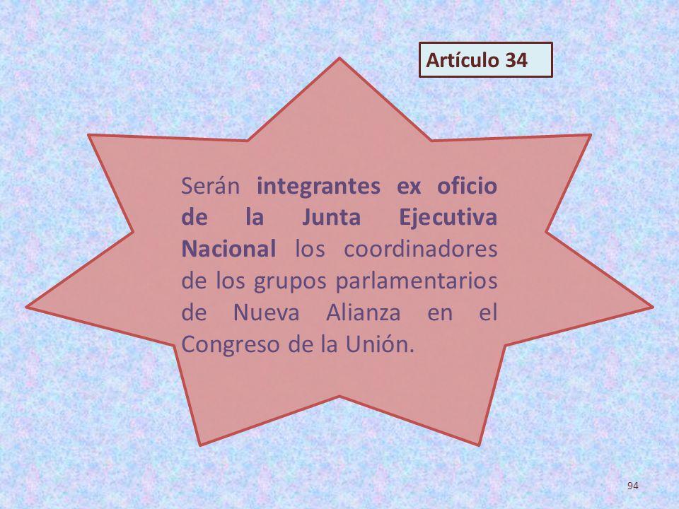 Serán integrantes ex oficio de la Junta Ejecutiva Nacional los coordinadores de los grupos parlamentarios de Nueva Alianza en el Congreso de la Unión.