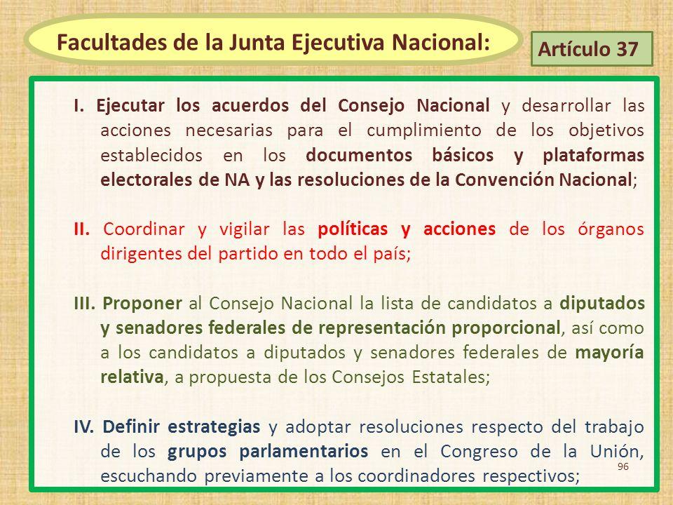 I. Ejecutar los acuerdos del Consejo Nacional y desarrollar las acciones necesarias para el cumplimiento de los objetivos establecidos en los document