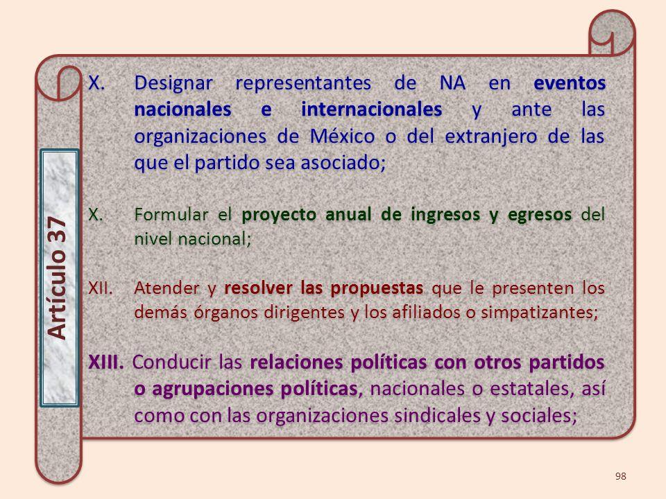 X.Designar representantes de NA en eventos nacionales e internacionales y ante las organizaciones de México o del extranjero de las que el partido sea