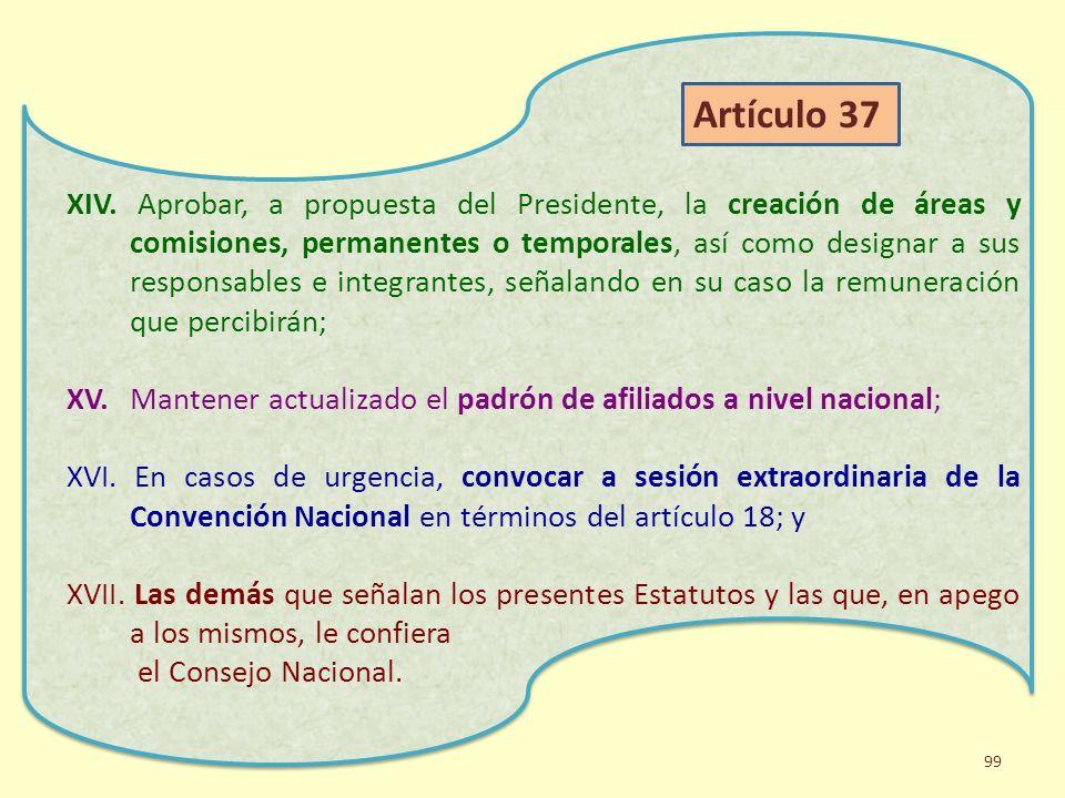 XIV. Aprobar, a propuesta del Presidente, la creación de áreas y comisiones, permanentes o temporales, así como designar a sus responsables e integran