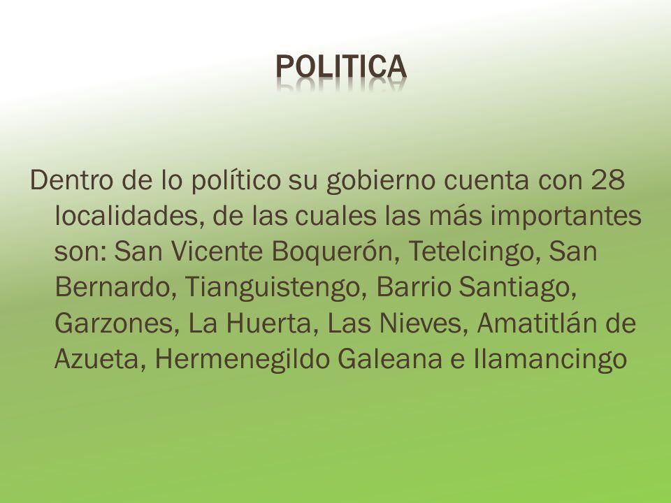 Dentro de lo político su gobierno cuenta con 28 localidades, de las cuales las más importantes son: San Vicente Boquerón, Tetelcingo, San Bernardo, Tianguistengo, Barrio Santiago, Garzones, La Huerta, Las Nieves, Amatitlán de Azueta, Hermenegildo Galeana e Ilamancingo