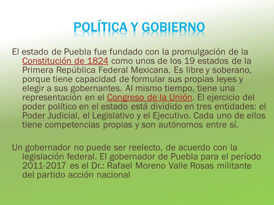 El estado de Puebla fue fundado con la promulgación de la Constitución de 1824 como unos de los 19 estados de la Primera República Federal Mexicana.